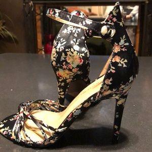 Elegant black Floral print heels.  NWOT